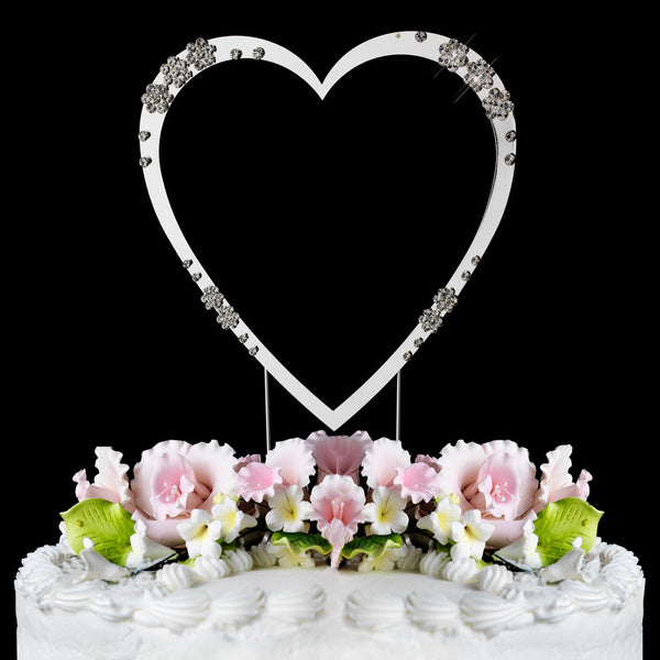 French Flower Swarovski Crystal Single Heart Cake Toppers - Silver