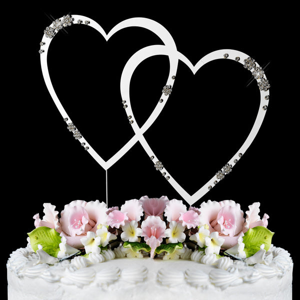 French Flower Swarovski Crystal Double Heart Cake Toppers - Silver