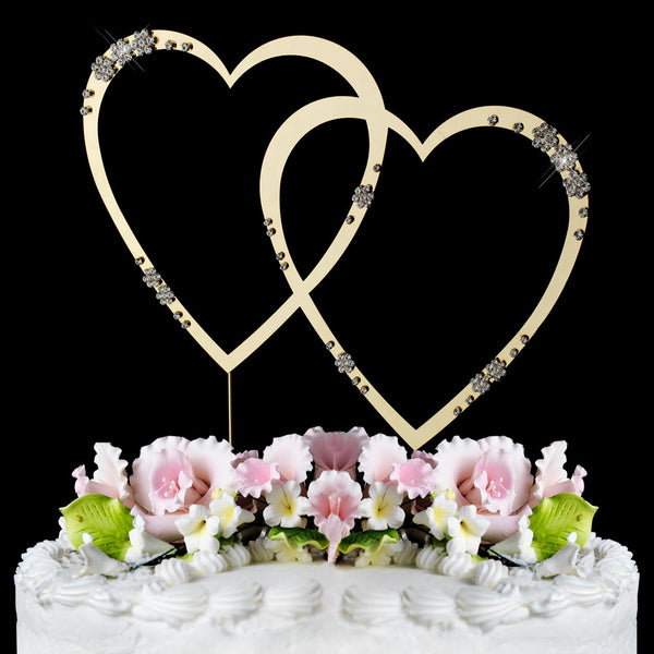 French Flower Swarovski Crystal Double Heart Cake Toppers - Gold