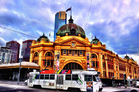 Flinders with White Tram - Print