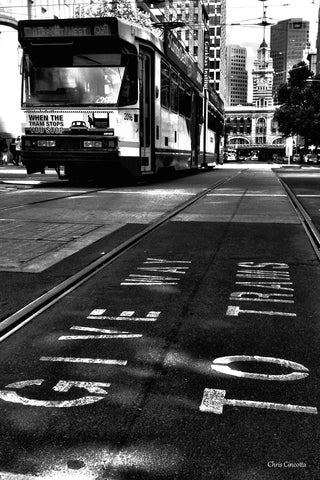Black and White Tram - Print
