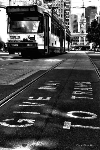 Black and White Tram