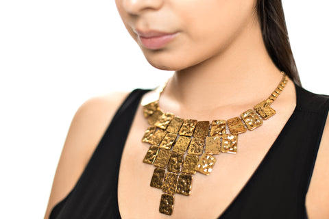 Cleopatra Hammered Bronze Statement Necklace