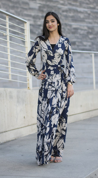 Blue Floral Maxi-Wrap Dress