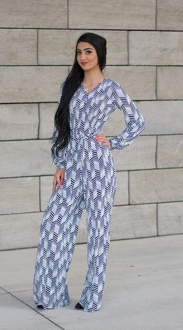 Navy Chevron Jumpsuit