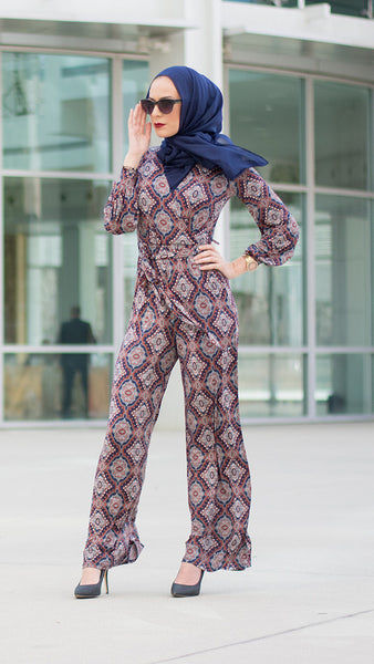 Navy Damask Jumpsuit