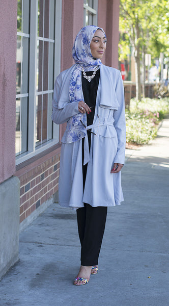 Light Blue Drapey Trench