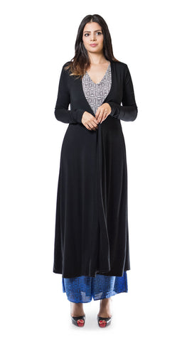 Black Multi-Way Maxi Cardigan