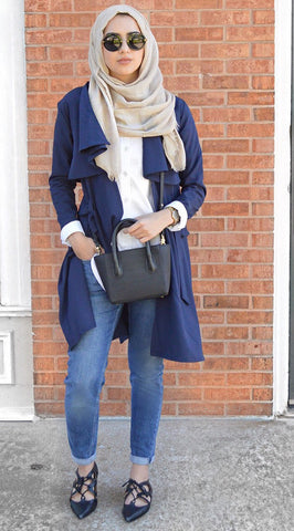 Navy Blue Drapey Trench