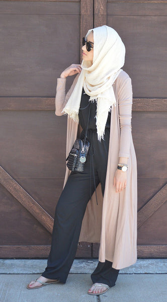 Beige Multi-Way Maxi Cardigan