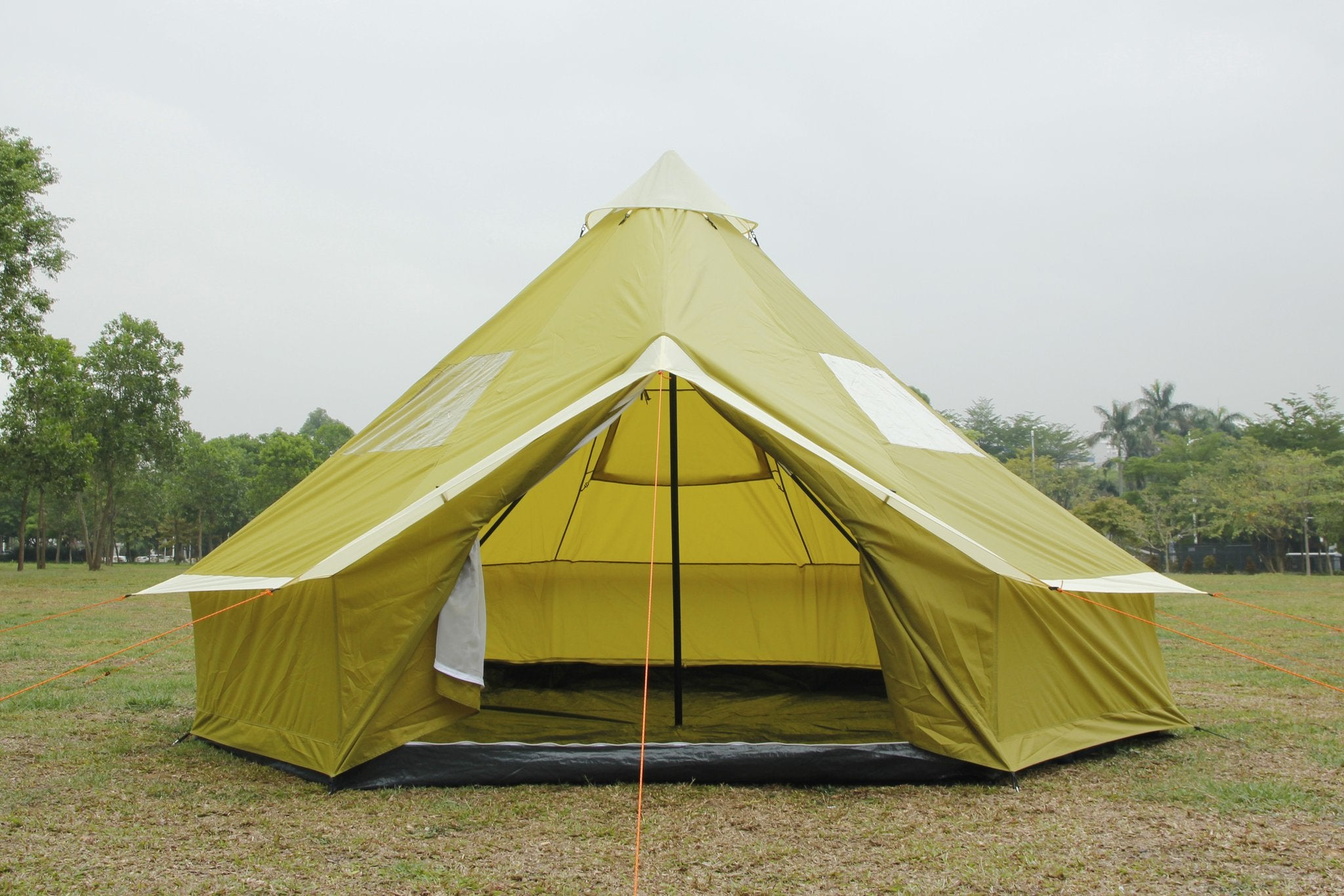 4m Bell tent 8-person Olive pyramid round with zipped in ground sheet