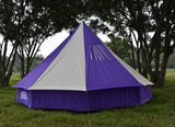 5m Bell tent 10-person pyramid round with zipped in ground sheet Purple and white