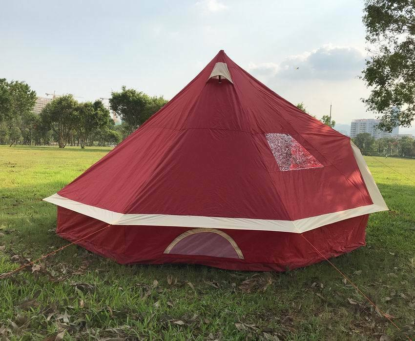 5m Bell tent 10-person pyramid round with zipped in ground sheet Burgundy
