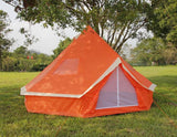 5m Bell tent 10-person pyramid round with zipped in ground sheet Orange and White