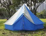 5m Bell tent 10-person pyramid round with zipped in ground sheet Turquoise and white