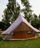 4m Metre GlampTex PS 400 - Ultimate Purple and Cream Stripes Bell tent with Zipped-in- Groundsheet Waterproof