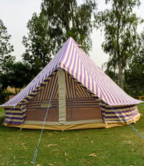 5m Metre GlampTex PS 500 - Ultimate Purple Cream Stripes Bell tent with Zipped-in- Groundsheet Waterproof