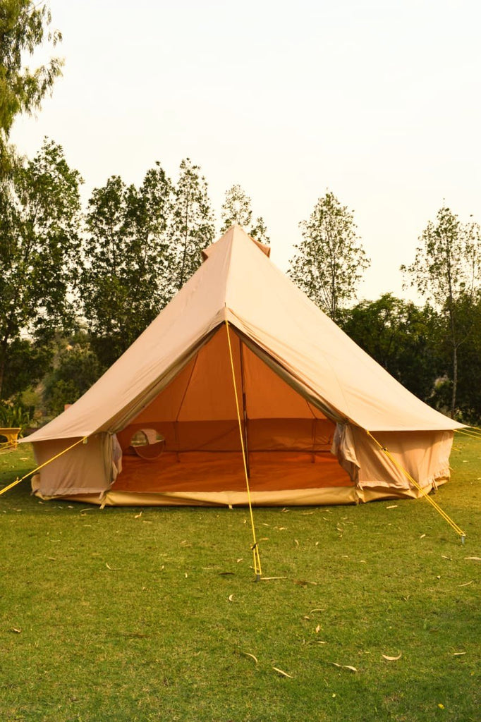 5m Metre Canvas bell tent with Zipped in Groundsheet, mesh door Flue hole