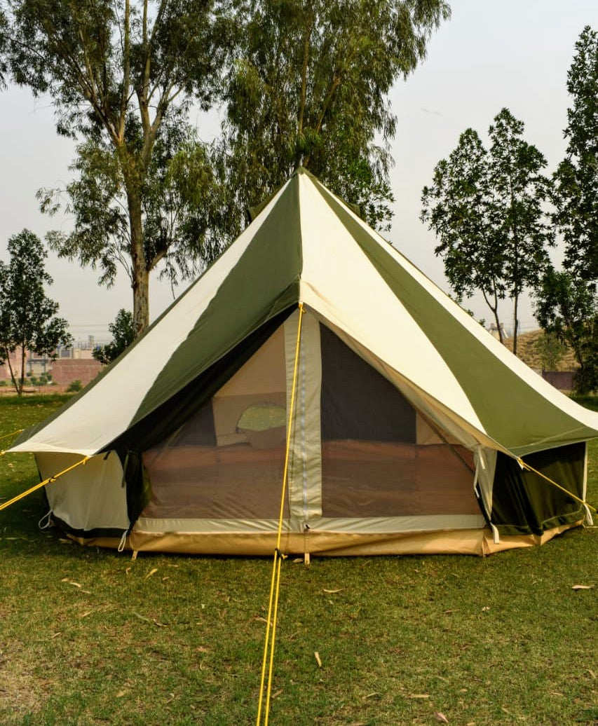 5m Metre GlampTex OC 500 - Ultimate Olive and Cream Bell tent with Zipped-in- Groundsheet Waterproof