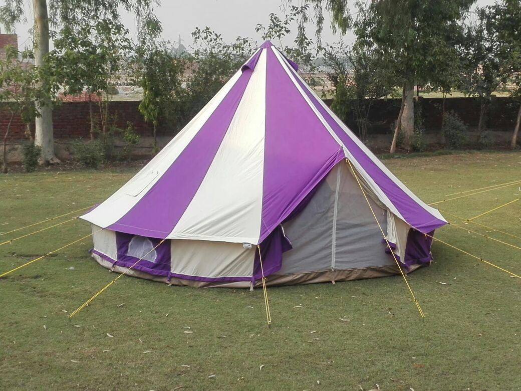 5m Metre Gl&Tex PC 500 - Ultimate Purple and Cream Bell tent with Zipped-in- Groundsheet Waterproof & 5m Metre GlampTex PC 500 - Ultimate Purple and Cream Bell tent ...