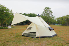 5M Glamptex 500 - 10-person teepee tent, pyramid tent, Zipped in ground sheet, canopy awning