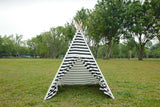 Canvas Teepee Tent for Kids Tipi Tent teepee tent, 2 Child Indian TP Wigwam, Black and White