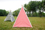 Canvas Teepee Tent for Kids Tipi Tent teepee tent, 2 Child Indian TP Wigwam, Red and White