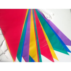 MULTICOLOUR COLOUR BUNTING 10M METRE 20 FLAGS