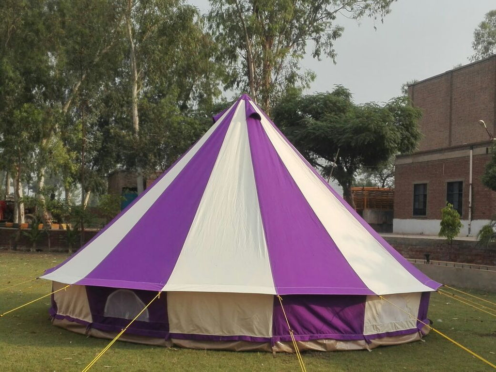5m Metre GlampTex PC 500 - Ultimate Purple and Cream Bell tent with Zipped-in- Groundsheet Waterproof