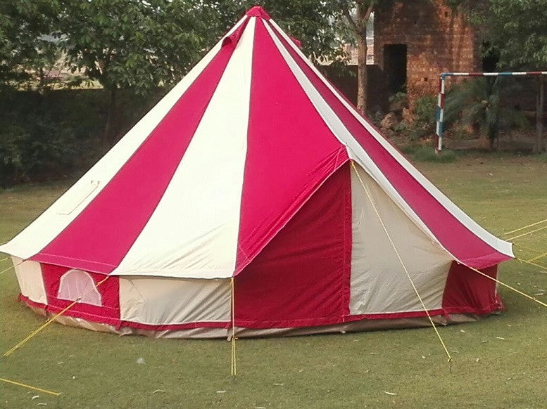4m Metre GlampTex RC 400 - Ultimate Red / Cream Bell tent with ZIG Zipped-in-Groundsheet Waterproof