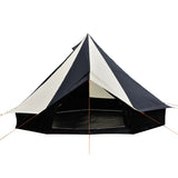 5m Bell tent 10-person pyramid round with zipped in ground sheet Black and white