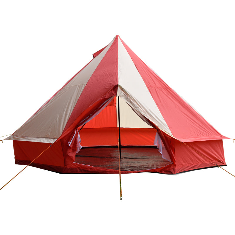 5m Bell tent 10-person pyramid round with zipped in ground sheet Red and white