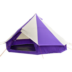 4.5m Bell tent 10-person pyramid round with zipped in ground sheet Purple and white
