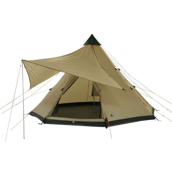 10T Shoshone 500 - 10-person teepee tent, pyramid tent, sewn in ground sheet, canopy awning
