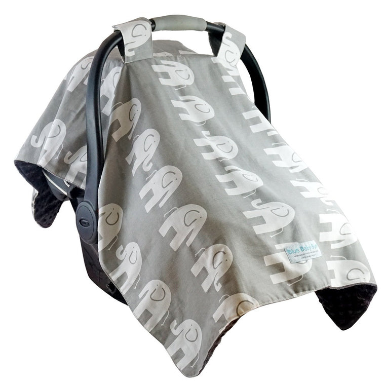 Car Seat Canopy Elephants Grey