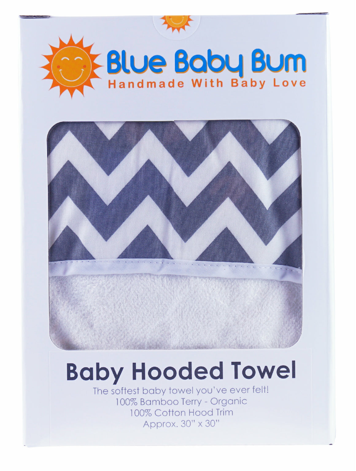 Hooded Baby Bath Towel Zig Zag Grey