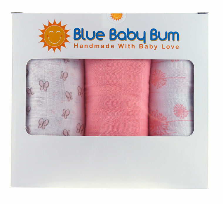 Muslin Swaddle Blanket Set Girls