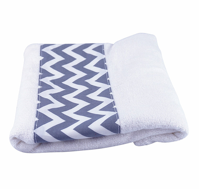 Toddler Bath Towel Zig Zag Grey