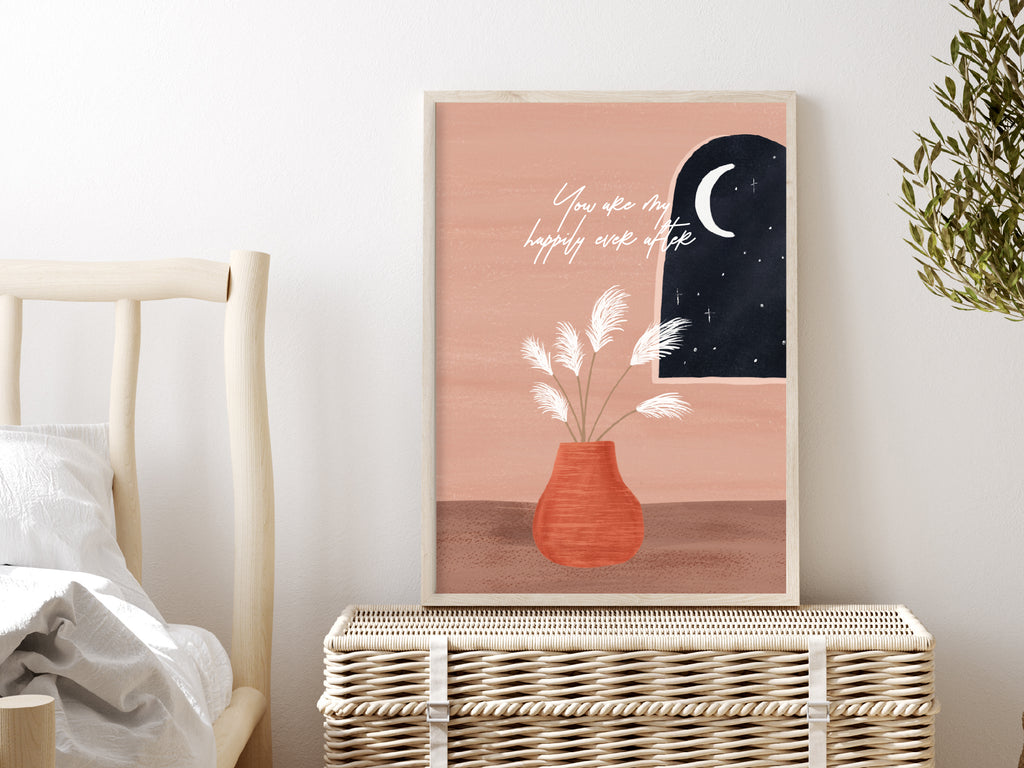 Art Print Poster - Moonlit Window  (Customisable Text)