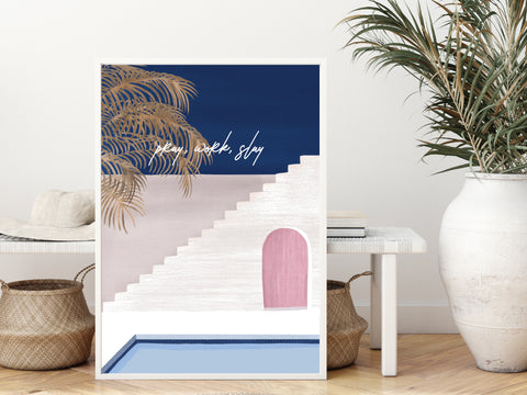 Art Print Poster - Poolside Peace (Customisable Text)