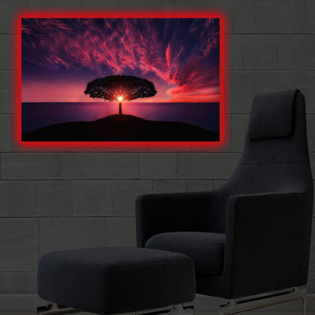 Home - LED Canvas || Sunset Tree (40x60cm)