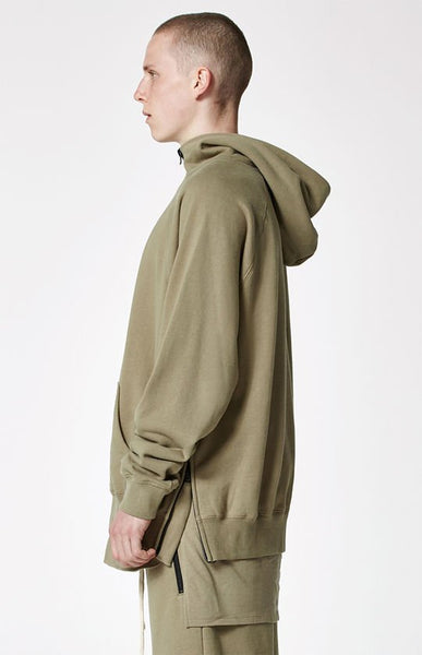 FOG - Fear Of God Essentials Half Zip Pullover Hoodie SILVER SAGE