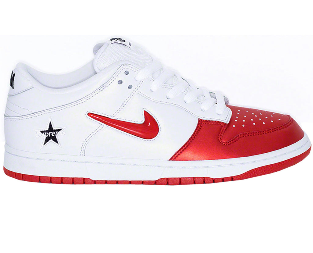 Nike X Supreme dunk low SB jewel swoosh red