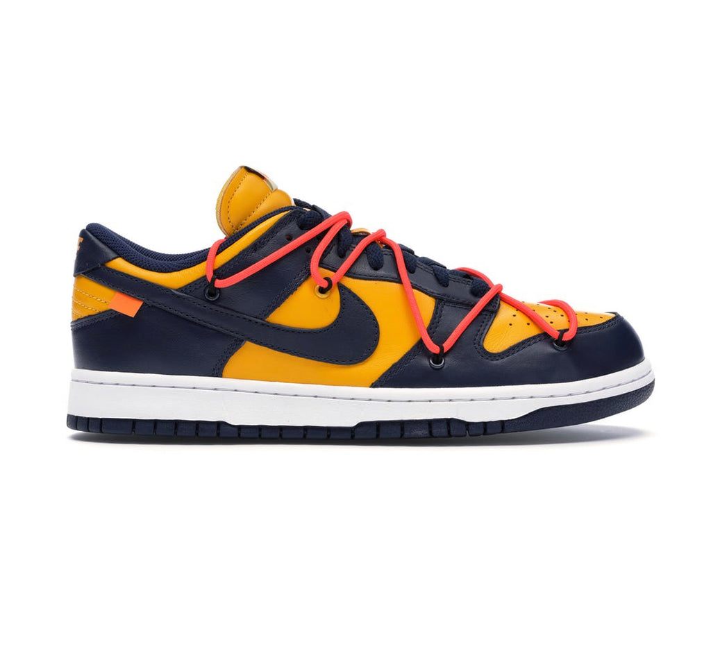 Nike x off white dunk low university gold midnight navy