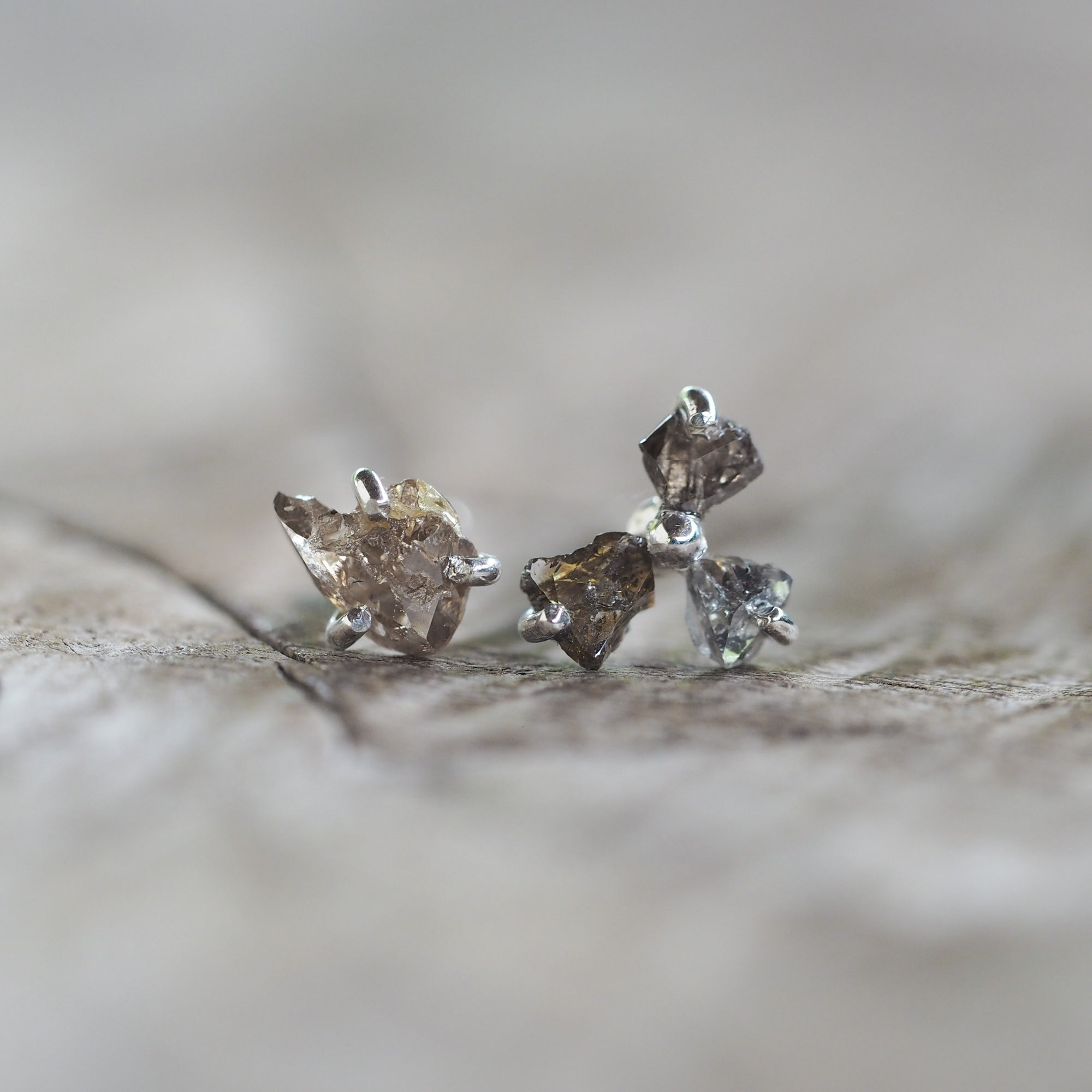 AA Meri Diamond Flower Mismatched Earrings - Gardens of the Sun Jewelry