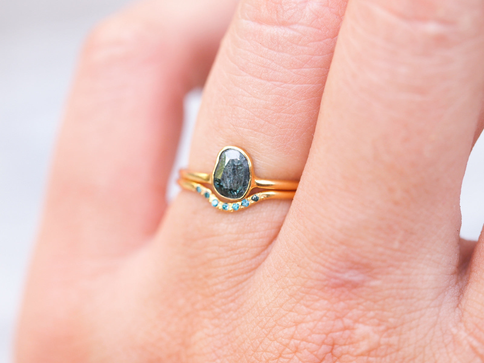 Blue Diamond Slice Ring | Build Your Own - Gardens of the Sun