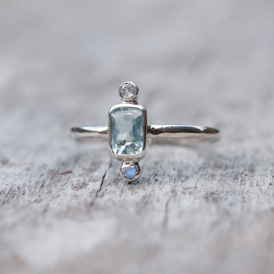 Courage // Aquamarine and Moonstone Ring - Gardens of the Sun Jewelry