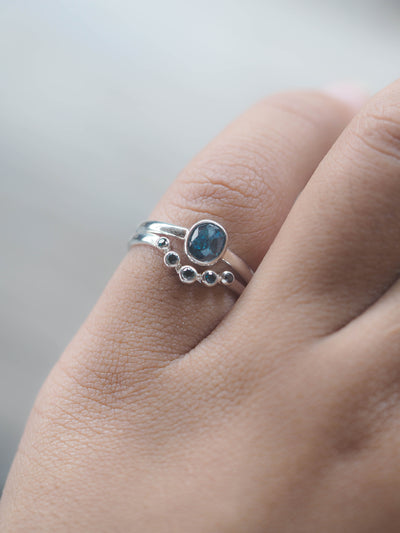Blue Rose Cut Diamond Ring Set - Gardens of the Sun Jewelry