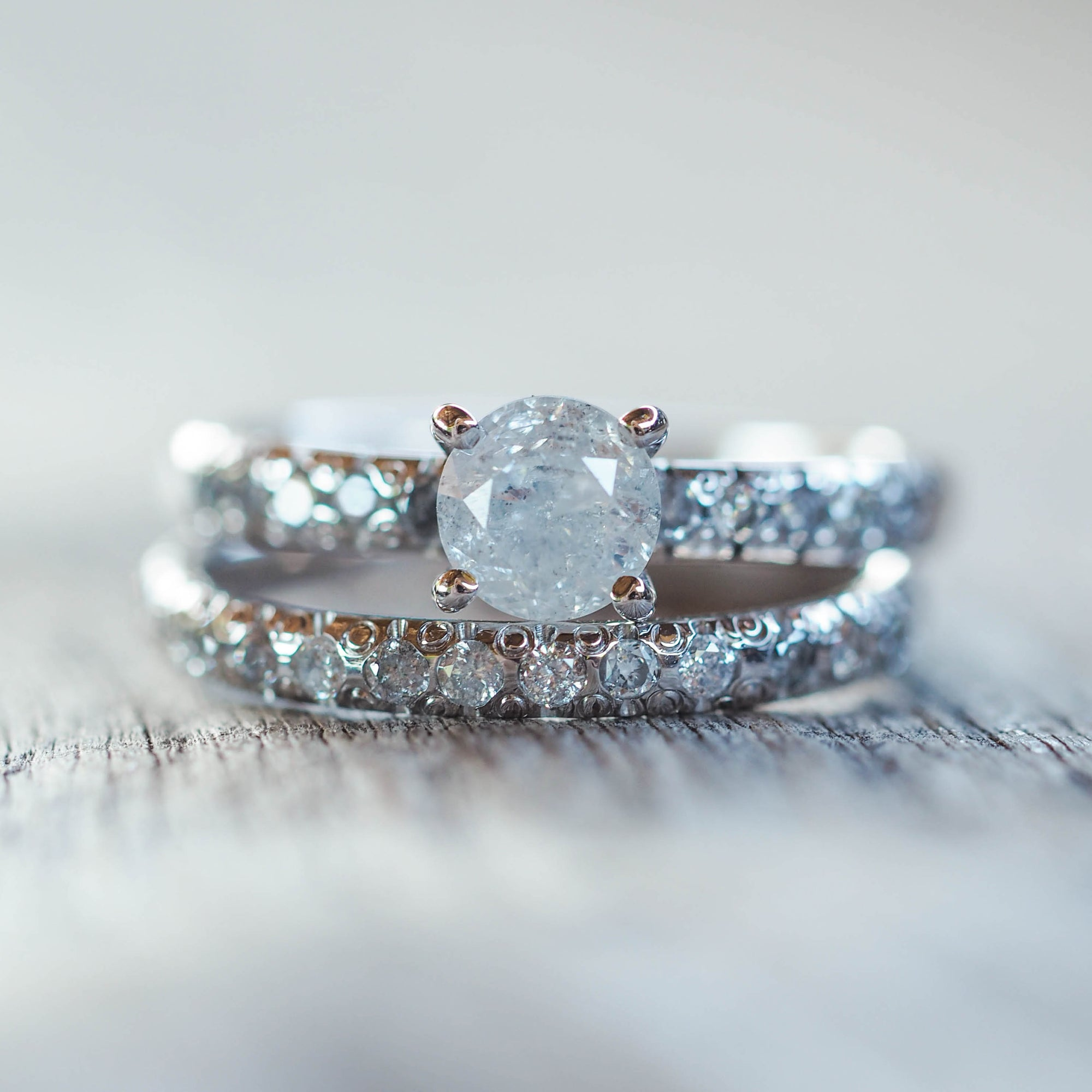 Icy White Diamond Ring Set