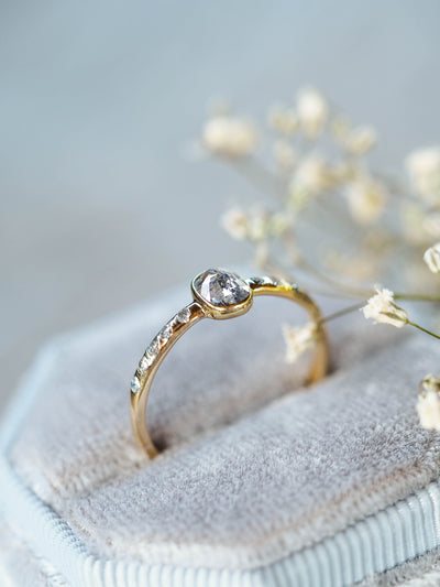 Cushion Salt and Pepper Diamond Ring in Yellow Gold - Gardens of the Sun Jewelry